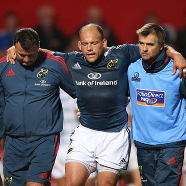 BJ Botha had to be helped off the Musgrave Park pitch