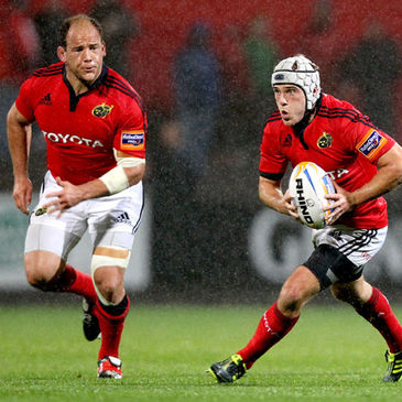 Munster's BJ Botha and Duncan Williams