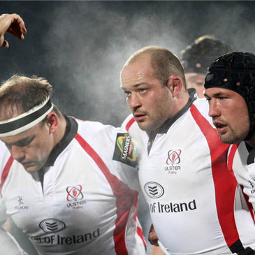 BJ Botha, Rory Best and Justin Fitzpatrick in the Ulster front row