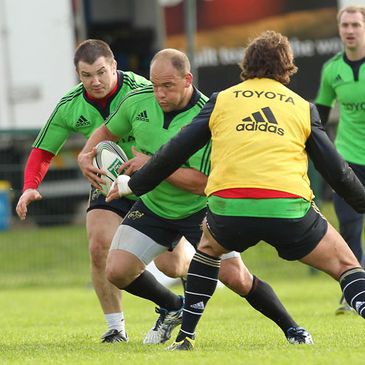 BJ Botha carries the ball forward during today's training session