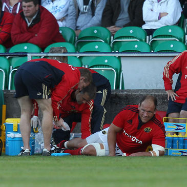 BJ Botha is pictured receiving treatment for his injury
