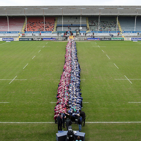 An overhead view of the world record scrum at Ravenhill