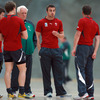Backs coach Alan Gaffney talked tactics with Ronan O'Gara and company during part of today's indoor training session