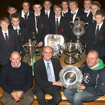 The trophies at the High School Ballynahinch