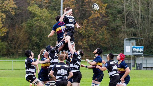 Lineout action from Banbridge's narrow win over Old Belvedere