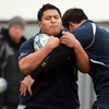 Recent recruit Barry Fa'amausili keeps a tight hold of possession during a training drill. He made his Amlin Challenge Cup debut against I Cavalieri Estra in October