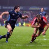 Glasgow's John Beattie cannot get to Barry Murphy in time as the Munster centre dives over for a try
