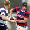 Clontarf flanker Barry O'Mahony runs towards Blackrock's David Rowan during the sides' opening Division 1A clash