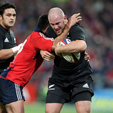 New Zealand prop Ben Franks in action against Munster