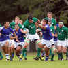 Second row Ben Marshall makes the hard yards during the Ireland Under-20s' play-off triumph over Samoa