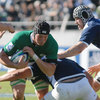 Ireland lock Ben Marshall takes the ball into contact as the sides battle it out in the Argentinian sunshine