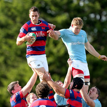 Clontarf's Ben Reilly gathers a lineout ball