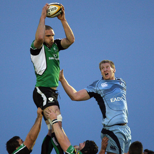 Bernie Upton claims a lineout ball against Cardiff