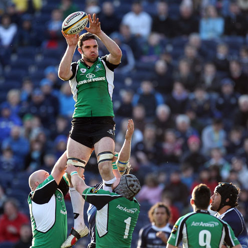 Bernie Upton wins a lineout for Connacht