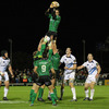 Replacement lock Bernie Upton claims a lineout ball in the closing stages of Saturday night's derby
