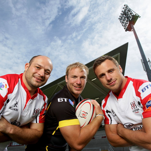 Ulster's Rory Best, Stephen Ferris and Tommy Bowe