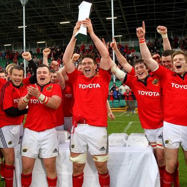 Billy Holland lifts the British & Irish Cup for Munster 'A'