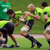 John Hayes, Ireland's most-capped forward, gives support to Billy Holland as they break off the back of a ruck