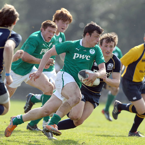 Bobby Holland in action for the Ireland Schools side