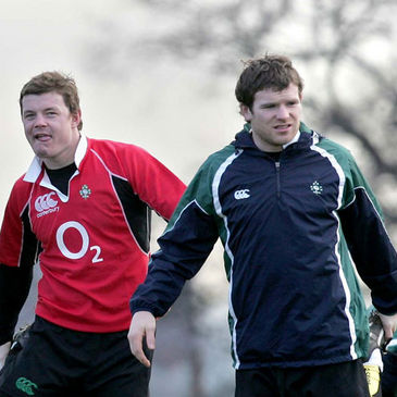 Brian O'Driscoll and Gordon D'Arcy warm up at training