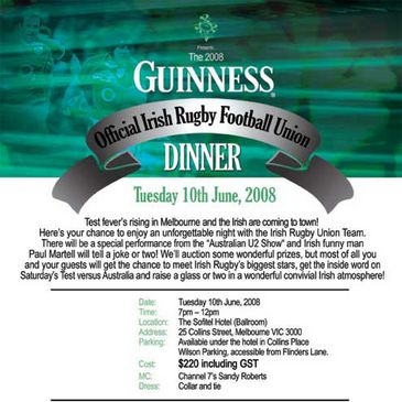 The official IRFU dinner in Australia