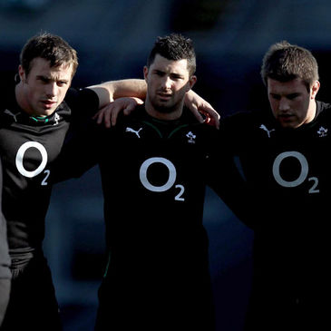 Ireland's Tommy Bowe, Rob Kearney and Sean O'Brien
