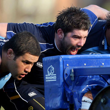 Brian Blaney training with former Leinster team-mate Stan Wright