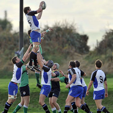 Cork Constitution's Brian Hayes wins lineout possession against Ballynahinch