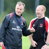 New Ulster head coach Brian McLaughlin shares a joke with backs coach Neil Doak during Friday's training session