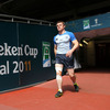 Brian O'Driscoll, who injured his right knee against Ulster last weekend, makes his way out onto the Millennium Stadium pitch