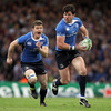 Brian O'Driscoll provides the support for Shane Horgan as the big winger gets a chance to stretch his legs