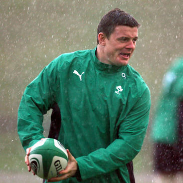 Ireland captain Brian O'Driscoll training in the Limerick rain
