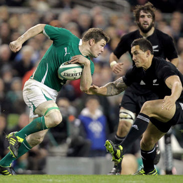 Ireland captain Brian O'Driscoll in action against New Zealand