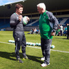 Brian O'Driscoll has a chat with backs coach Alan Gaffney before the squad session begins at Carisbrook Stadium