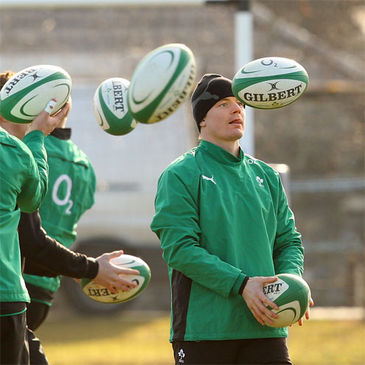 Brian O'Driscoll training with the Ireland squad