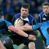 Leinster centre Brian O'Driscoll is double teamed by Glasgow's Calum Forrester and Kelly Brown