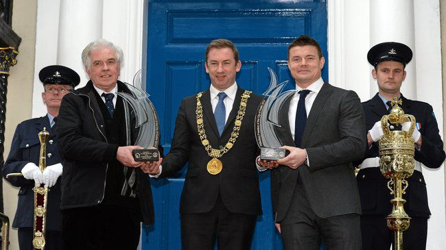 Fr. Peter McVerry. Lord Mayor Oisín Quinn and Brian O'Driscoll