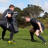 Gordon D'Arcy practises his tackling with Brian O'Driscoll, whose 13 Rugby World Cup match appearances is an Irish record