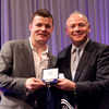 Brian O'Driscoll, who received a special commemorative jersey and medal as a member of the ERC Dream Team, is pictured with former Wales and Lions winger Ieuan Evans