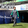 Brian O'Driscoll makes his way out onto the Eden Park pitch, where he last played for Ireland in a summer tour match in June 2006