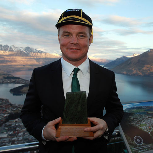 Ireland captain Brian O'Driscoll with a gift he received at the civic reception