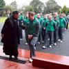 Brian O'Driscoll is briefed as he leads the players and members of the management team into the Wharenui (meeting house)