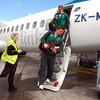 Brian O'Driscoll and Sean Cronin are pictured emerging from the plane in Auckland, where Ireland will face Australia next Saturday