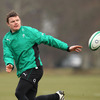 Brian O'Driscoll, who has recovered from the head injury he sustained against England, spins a pass away