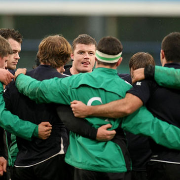 The Ireland players huddle together at Donnybrook