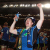 Brian O'Driscoll celebrates in unison with some of the Leinster fans who were amongst the 72,456-strong crowd