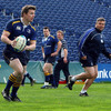 Brian O'Driscoll and Ollie Le Roux take part in a passing drill as Leinster turn their attention to Saturday's Heineken Cup semi-final