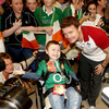 Young Matthew McGrath from Gorey, County Wexford was pleased to see Brian O'Driscoll as the players mingled with the fans who welcomed them at Dublin Airport