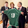 Brian O'Driscoll presented the McAleeses with one of his own Ireland jerseys