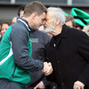 Maori elder Michael Skerrett shared a 'hongi' with Brian O'Driscoll, which is the traditional nose-to-nose, forehead-to-forehead greeting